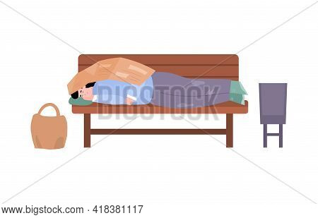 Homeless Poor Dirty Man Sleeping On Bench At City Street A Vector Illustration