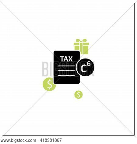 Carbon Tax Glyph Icon. Tax Levied On Carbon Goods And Services. Economically Profitable. Declaration