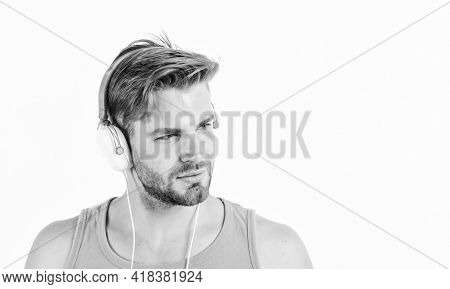 Sale Discount. Music Fan Concept. Man Guy Listening Music Headphones White Background. Modern Techno