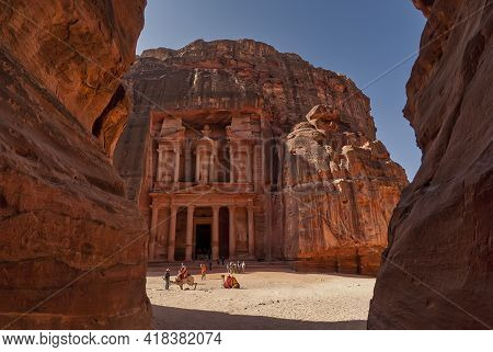 Facade Of The Treasury In The Ancient City Of Petra Viewed From The Canyon The Siq