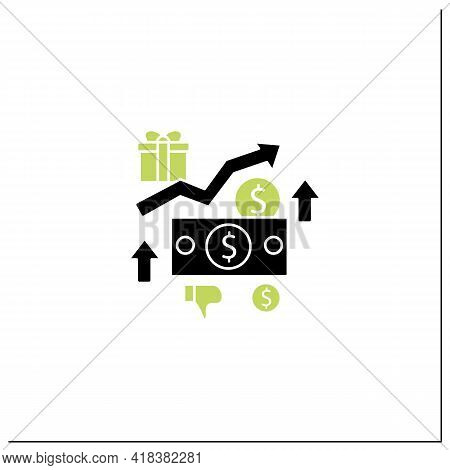 Higher Taxes Glyph Icon. Higher Percentage. Tax Fee Growth.universal Basic Income Concept.filled Fla