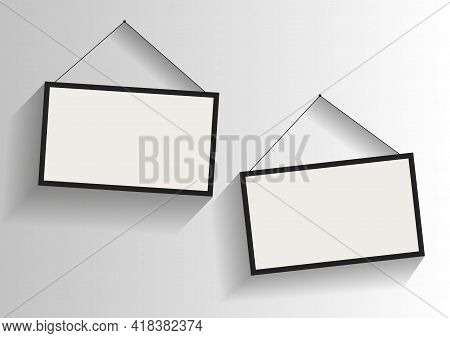 Realistic Empty White Picture Frame Realistic Empty White Picture Frame, Isolated On A Neutral Gray
