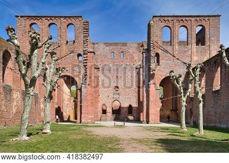 Bad Dürkheim, Germany - April 2020: Ruin Of Limburg Abbey In Palatinate Forest