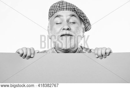 Pensioner Hold Poster Information Copy Space. Timing And Schedule. Public Information. Announcement