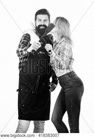 Family Bbq Ideas. Couple In Love Getting Ready For Barbecue. Picnic And Barbecue. Man Bearded Hipste