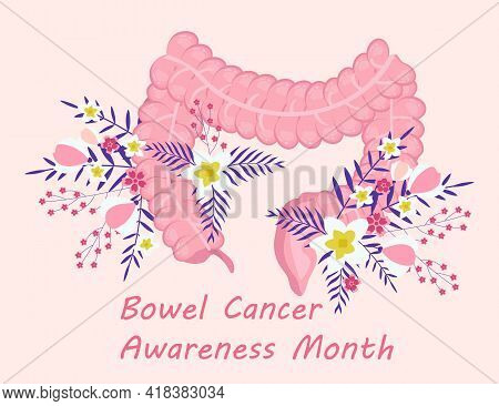 Bowel Cancer Awareness Month Concept Vector. Medical Event Is Observed In April. Human Intestine On