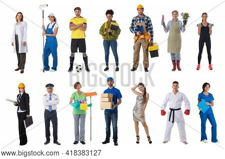 Collage Set Collection Of People With Various Occupations Professionals Standing Isolated On White B