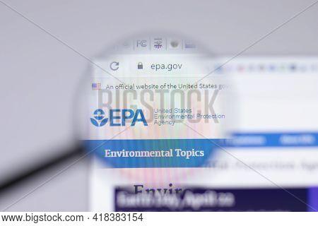 New York, Usa - 26 April 2021: United States Environmental Protection Agency Epa Logo Close-up On We