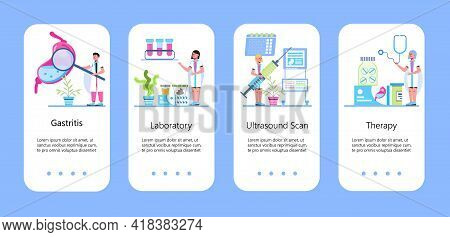Stomach Ulcer, Colic Concept Vector App. Abdominal Ultrasound Concept Vector. Tiny Doctors Research
