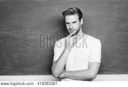 Education Concept. Man Teacher At School Lesson. Knowledge Day. Back To School. Empty Blackboard Inf