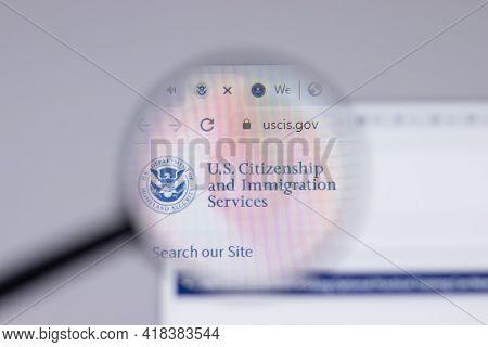 New York, Usa - 26 April 2021: Uscis United States Citizenship And Immigration Services Logo Close-u
