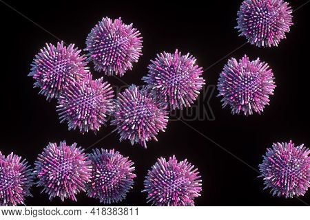Pink Balls, Spheres With Not Sharp Spikes, Sticks Around It On Black Background. Geometric Shapes. M