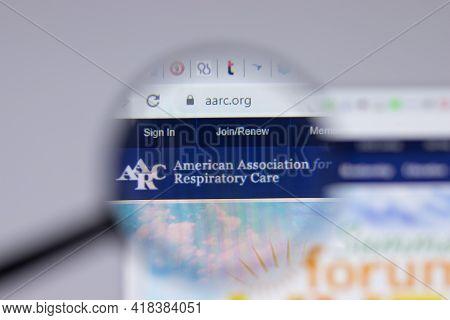 New York, Usa - 26 April 2021: American Association For Respiratory Care Aarc Logo Close-up On Websi