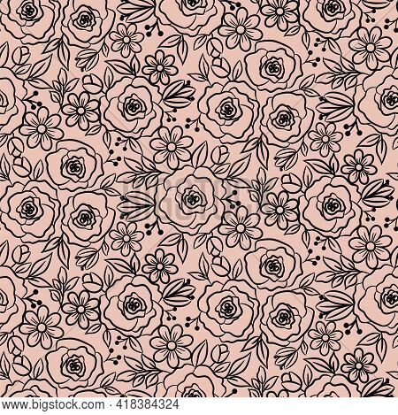 Hand Drawn Florals Peonies Outline Style. Blush Doodle Peony Flowers And Daisy Plants. Monochrome Fl