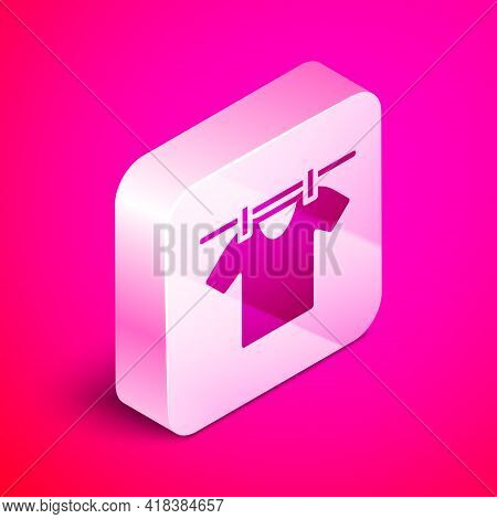 Isometric Drying Clothes Icon Isolated On Pink Background. Clean Shirt. Wash Clothes On A Rope With