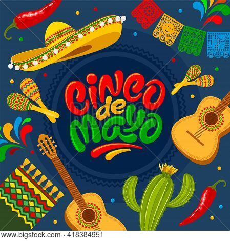 Cinco De Mayo Banner Template For Mexico Independence Celebration With Traditional Papercut Flags An