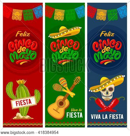 Cinco De Mayo Banners Set For Mexico Independence Celebration With Traditional Papercut Flags And Ot