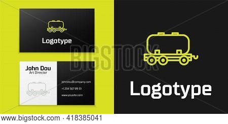 Logotype Line Oil Railway Cistern Icon Isolated On Black Background. Train Oil Tank On Railway Car.