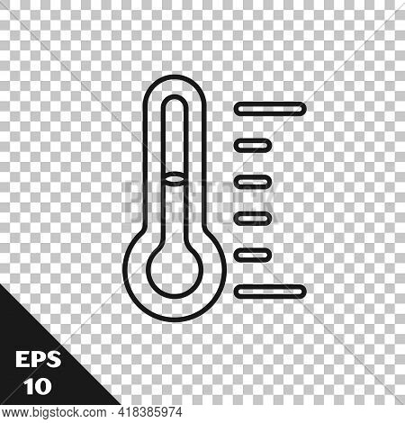 Black Line Sauna Thermometer Icon Isolated On Transparent Background. Sauna And Bath Equipment. Vect