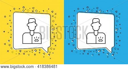 Set Line Veterinarian Doctor Icon Isolated On Yellow And Blue Background. Vector