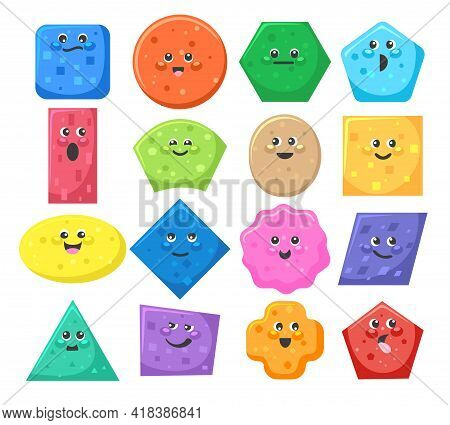 Funny Kids Shapes Objects. Cartoon Cute Learning Object Set With Cute Faces For Kindergarten Educati