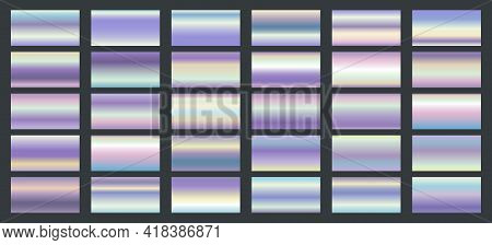 Bright Shine Holographic Swatches. Vector Fantastic Metal Textures, Matte Metallic Tiles, Liquid Rai