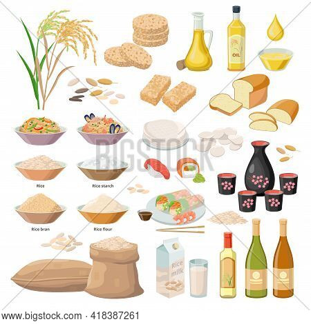 Rice Products, Food From Rice, Oil, Flour, Bran, Starch, Milk, Puffed Rice, Popped Rice Cakes, Sake,