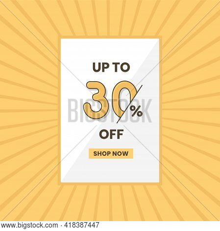 Up To 30% Off Sales Offer. Promotional Sales Banner Up To 30% Discount Offer