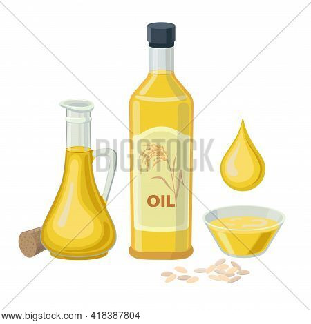 Rice Oil In Glass Bottles Isolated On White Background. Vector Illustration Of Rice Bran Oil In Glas