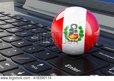 Peruvian Flag On Laptop Keyboard. Online Business, E-education, Shopping In Peru Concept. 3d Renderi