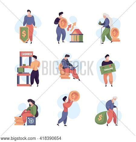 Money Services. Banking Payment Deposit For Social Customers Credit Debit Paycheck Cash Garish Vecto