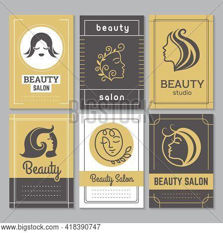 Beauty Salon Visit Cards. Business Identity Symbols Hairdressing Salon Manicure Spa Invitation Banne