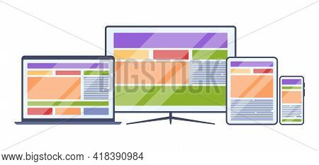 Responsive Web. Business Site Pages Templates Adaptive Design Various Gadgets Screen Visualisation C