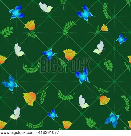 Summer Romantic Pattern With Butterflies On Green Square. Decorative Colorful Elegant Romantic Seaml