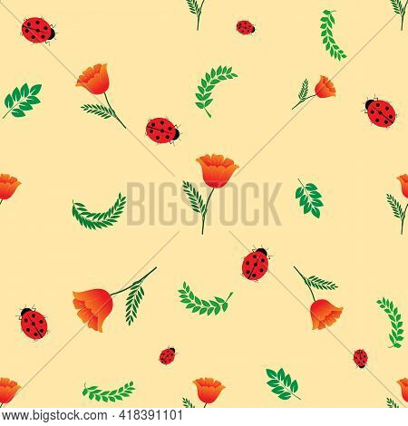 Summer Romantic Pattern With Ladybird On Yellow. Decorative Colorful Elegant Romantic Seamless Patte