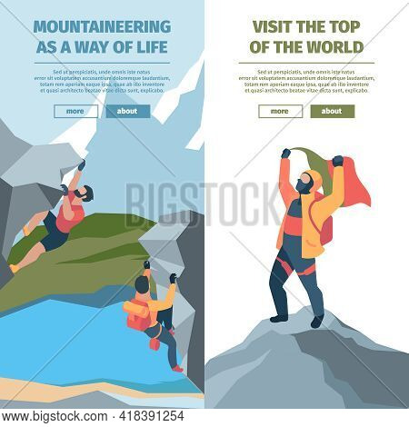 Wall Climbers. Banners With Risk Strong Brave Persons Mountain Climbers Garish Vector Business Banne