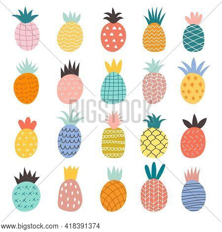 Hand Drawn Pineapples. Exotic Fruits Cute Illustrations Recent Vector Doodle Collection Of Pineapple