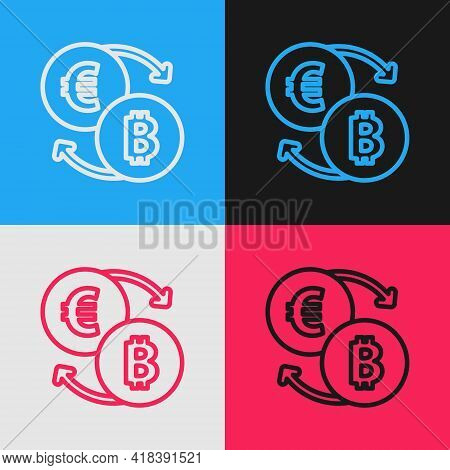 Pop Art Line Cryptocurrency Exchange Icon Isolated On Color Background. Bitcoin To Euro Exchange Ico