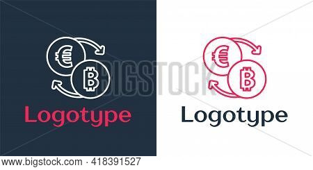 Logotype Line Cryptocurrency Exchange Icon Isolated On White Background. Bitcoin To Euro Exchange Ic