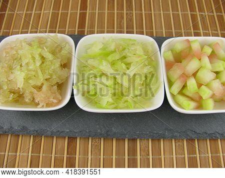 Variation Of Three Kinds Of Melon Peel On A Slate Plate