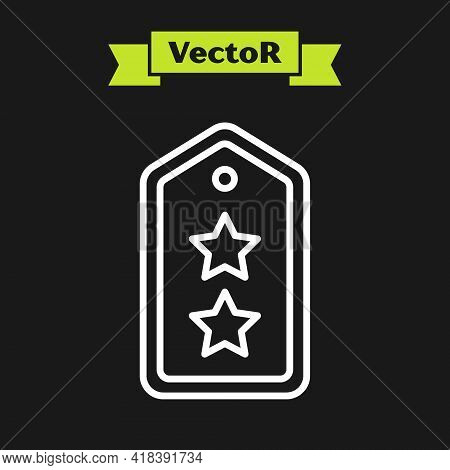 White Line Military Rank Icon Isolated On Black Background. Military Badge Sign. Vector