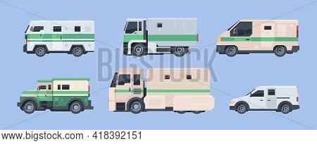 Police Bank Cars. Security Finance Services Collector Vehicle Heavy Steel Armored Cars Garish Vector