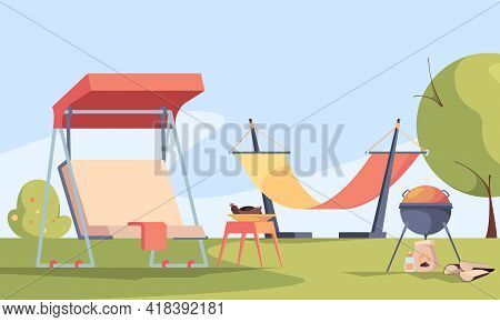 Garden Background. Outdoor Relax Place In Private Rural House Barbecue Fireplace Soft Modern Furnitu