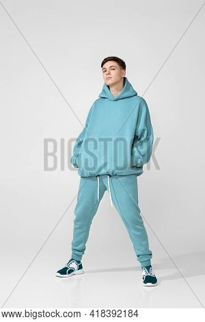 Handsome Guy Wearing Stylish Blank Hoodie Or Sweatshirt
