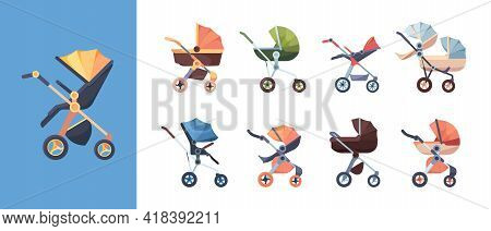 Carriage For Baby. Transport For Kids Mother Walking Trolley Waggon Wheels Maternity Symbols Garish