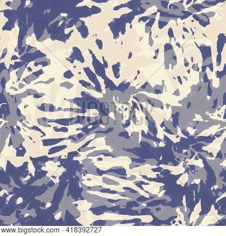 Tie Dye Shibori Trendy Spiral Seamless Pattern. Hand Drawn Indigo And Beige Colorful Spirals Ornamen