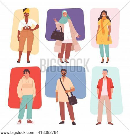 Multiracial Fashion. Casual Multicultural Characters Male And Female Clothes Outfit Woman Cute Dress