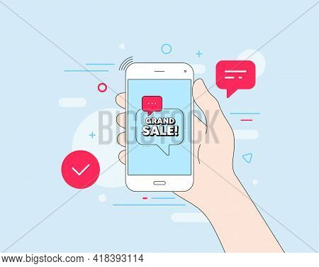 Grand Sale Symbol. Mobile Phone With Offer Message. Special Offer Price Sign. Advertising Discounts