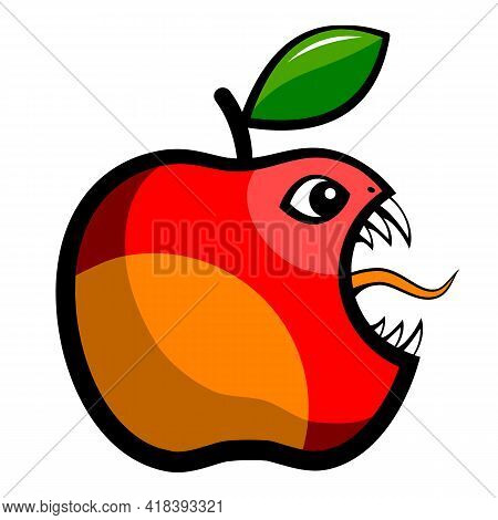 Angry Red Apple Fruit.  Angry Toothy Apple. A Bitten Apple With A Leaf. Vector Illustration.