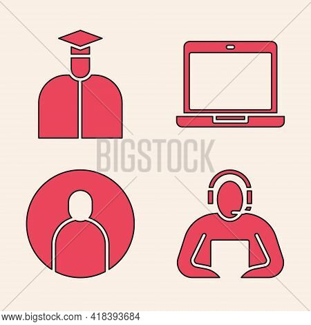 Set Student, Student, Laptop And Create Account Screen Icon. Vector
